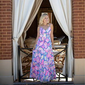 Lilly Pulitzer Melody Tiered Maxi Long Dress 10